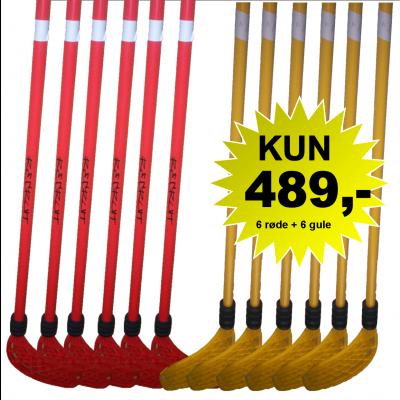 Hockeystavsæt - 6 røde og 6 gule