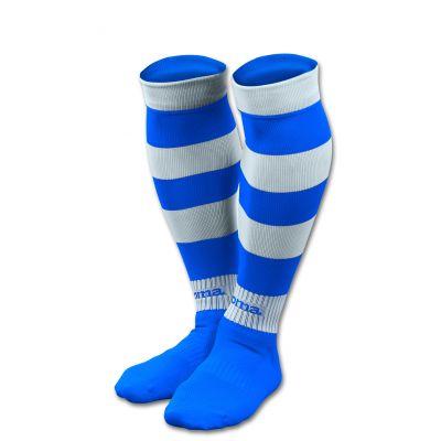 Stribede fodboldstrømper hvid/blå