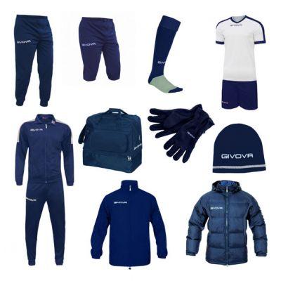 Stor Fodboldpakke - blå/hvid