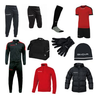 Stor Fodboldpakke - sort/rød