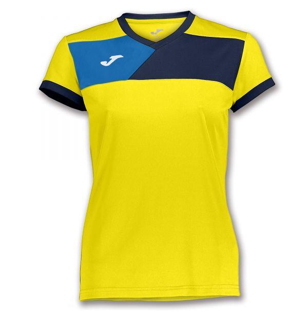 Joma T-shirt Crew II til damer - Gul/Mørkeblå