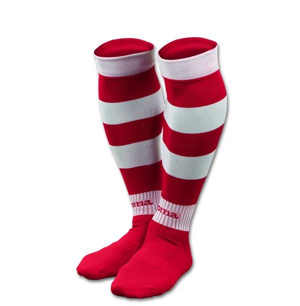 Stribede fodboldstrømper hvid/rød