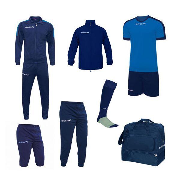 Mellem Fodboldpakke - blå/blå