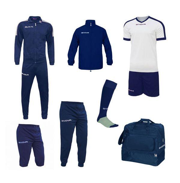 Mellem Fodboldpakke - blå/hvid